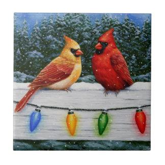Kardinals-Vögel und Weihnachtslichter Keramikfliese