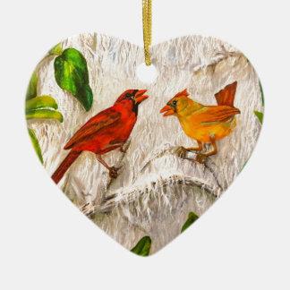 Kardinalsvögel Gesang der Liebe Keramik Ornament