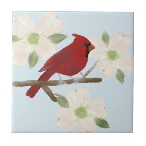 Kardinalund Hartriegelwatercolor-Keramik-Fliese