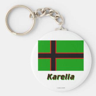 Karelien-Flagge mit Namen Standard Runder Schlüsselanhänger
