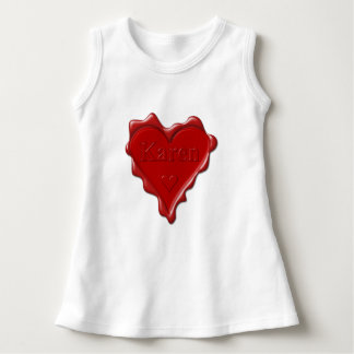 Karen. Rotes Herzwachs-Siegel mit Namenskaren Kleid