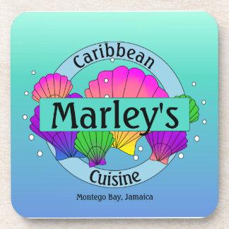 Karibische Cuisine-Muscheln und Blasen Getränkeuntersetzer