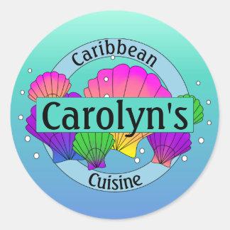 Karibische Cuisine-Muscheln und Blasen Runder Aufkleber