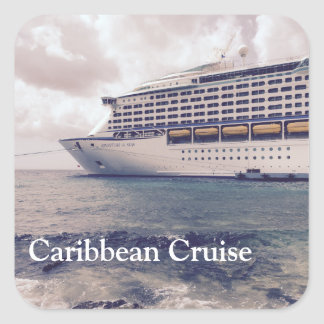 Karibische Kreuzfahrt - quadratische Aufkleber, Quadratischer Aufkleber