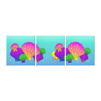 Karibische Muscheln mit Blasen Leinwanddruck