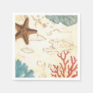Karibische Nautischstarfish-rustikale Karte und Papierservietten