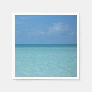 Karibischer Horizont-tropisches Türkis-Blau Papierservietten