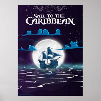 Karibischer Piraten-Cartoon-Reisedruck Poster