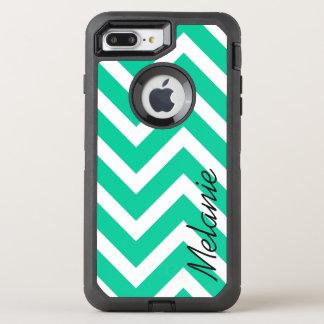 Karibisches grünes Zickzack Muster mit Monogramm OtterBox Defender iPhone 8 Plus/7 Plus Hülle