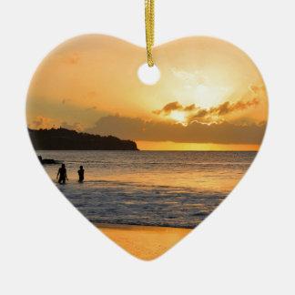 Karibisches Paradies Keramik Herz-Ornament