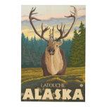 Karibu im wilden - Latouche, Alaska Holzdrucke