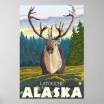 Karibu im wilden - Latouche, Alaska Poster
