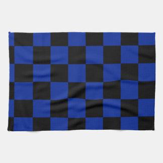 Kariert - schwarzes und Kaiserblau Handtuch