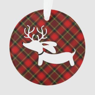 Karierte Dackel-Weihnachtsbaum-Verzierung Ornament