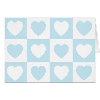 Karierte Herzen - blaues Eis Karte