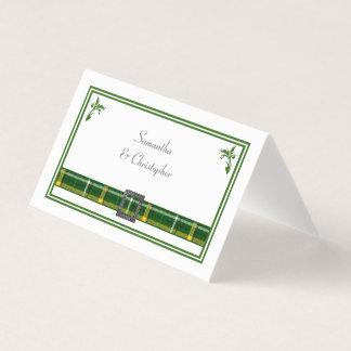 Karierte Hochzeit des grünen Tartan Platzkarte