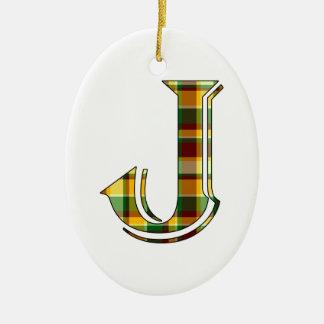 Karierte Initiale J Keramik Ornament