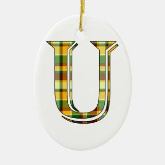 Karierte Initiale U Keramik Ornament