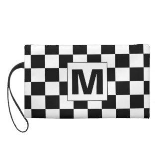Karierte Monogramm Bagettes Schwarzweiss-Tasche Wristlet Handtasche
