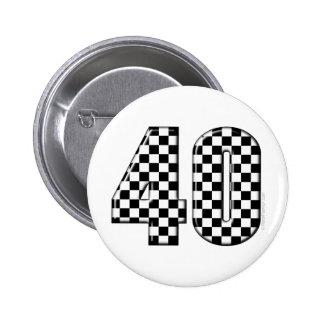 karierte Nr. 40 Runder Button 5,1 Cm