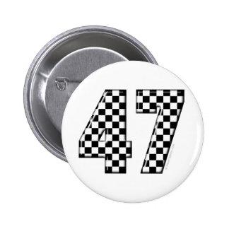 karierte Nr. 47 Runder Button 5,1 Cm