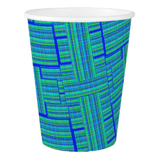 karierte Papierschale des blauen Grüns Pappbecher