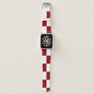 Karierte rote und weiße Rechtecke Apple Watch Armband