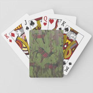 karierte Spielkarten des rustikalen Rotwildrens