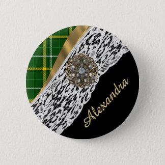 Karierte und weiße Spitze des grünen Tartan Runder Button 5,1 Cm