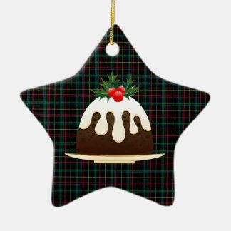 karierte Weihnachtspuddings Keramik Stern-Ornament