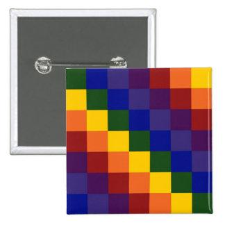Karierter Regenbogen Quadratischer Button 5,1 Cm