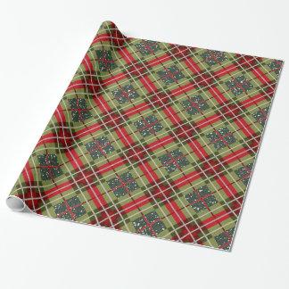 Karierter Rotwild-Geweih-Grün-Glitter Geschenkpapier