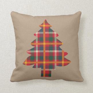 Karierter Weihnachtsbaum Kissen