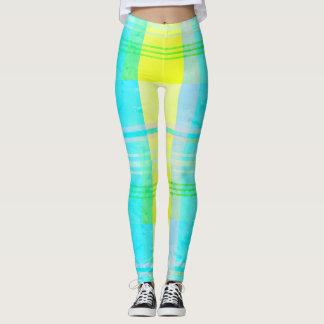 Kariertes Aqua blaues gelbes rosa grünes Legging Leggings