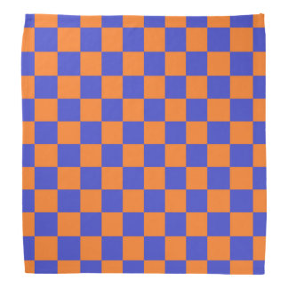 Kariertes Blaues und orange Kopftuch