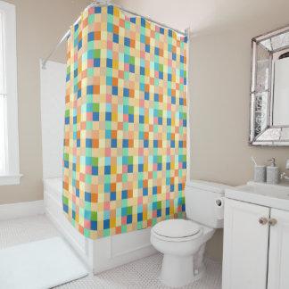 Kariertes Druck-Quadrat-Muster-Mehrfarbenhelles Duschvorhang