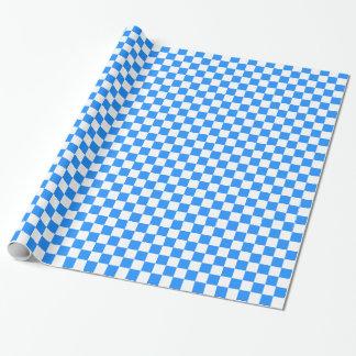 Kariertes großes - Weiß und Dodger-Blau Geschenkpapier