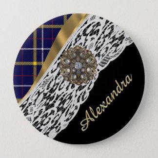 Kariertes Muster des blauen schottischen Tartan Runder Button 10,2 Cm