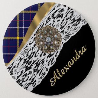 Kariertes Muster des blauen schottischen Tartan Runder Button 15,3 Cm
