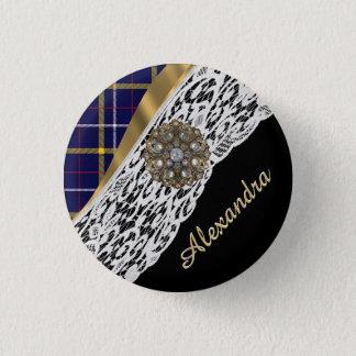 Kariertes Muster des blauen schottischen Tartan Runder Button 2,5 Cm