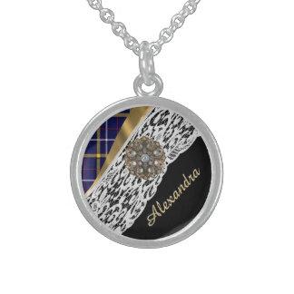 Kariertes Muster des blauen schottischen Tartan Sterling Silberkette