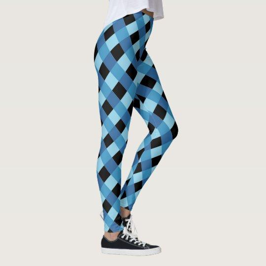 Kariertes Muster des blauen Schwarzen Leggings