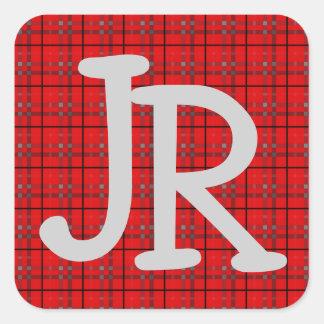 Kariertes Muster-rotes graues schwarzes Quadratischer Aufkleber