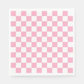 Kariertes rosa und Weiß Papierserviette