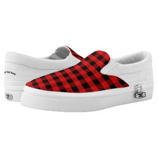 Kariertes rotes Schwarzes Checkered überprüft Slip-On Sneaker