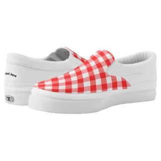 Kariertes rotes Weiß Slip-On Sneaker