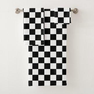 Kariertes Schachbrett-Schwarzweiss-Muster Badhandtuch Set