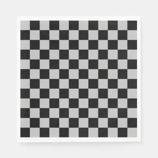Kariertes Silber und Schwarzes Papierserviette
