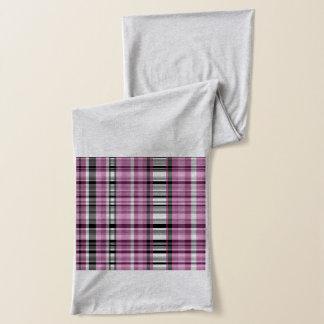Kariertes Streifen-Rosa-grauer Jersey-Schal Schal