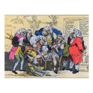 Karikatur der georgischen Chirurgen bei Arbeit, Postkarte